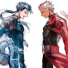 Fate/Stay night , Archer y Lancer Anime Guys, Manga Anime, Anime Art, Fate Zero, Geeks, Fate Archer, Archer Emiya, Shirou Emiya, Fate Stay Night Anime