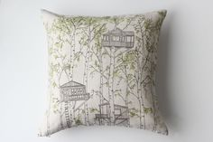 Linen Pillow Cover - Tree Houses by jennarosehandmade on Etsy