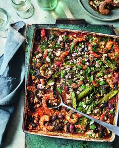 Saganaki-style prawn and feta traybake | delicious. magazine