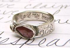 LOVE LOVE LOVE. rose cut ruby and sapphire engagement ring . paisley set fair trade gemstone ring . secret message handwritten inside.