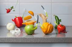 Food Fight kitchen fruit funny cartoon by AnimatedPhotography Kitchen Prints, Kitchen Art, Everyday Objects, Fruits And Vegetables, Photo Manipulation, Funny Photos, Food Art, Berries, Animation