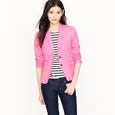 Herringbone Schoolboy Blazer in Neon Pink: Stripes + Color