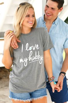 I Love My Hubby - SS Color: Grey 50/25/25 polyester/combed and ringspun cotton/rayon Sizing Notes .... Small - 2/4 Medium - 6/8 Large - 10/12 XL - 14/16