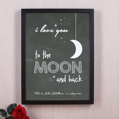 i love you to the moon and back - gerahmtes Poster mit Ihrem Wunschtext