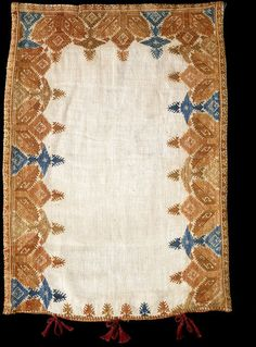 Cushion cover Date: century century (made) Place: Cyclades Folk Embroidery, Embroidery Fashion, Textile Jewelry, Greek Islands, Soft Furnishings, 18th Century, Folk Art, Greece, Weaving