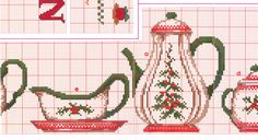 I think these tea set charts might work with filet crochet ~ Gallery. Cross Stitch Boarders, Cross Stitch Tree, Cross Stitch Heart, Cross Stitch Designs, Cross Stitching, Cross Stitch Patterns, Beaded Embroidery, Cross Stitch Embroidery, Cross Stitch Kitchen