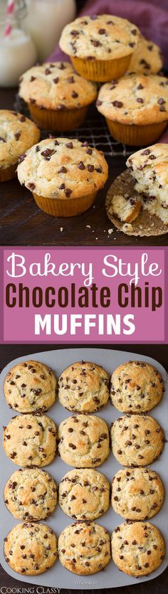 Bakery Style Chocolate Chip Muffins - these are DREAMY warm from the oven! Love the big muffin tops and chocolate chips in every bite!