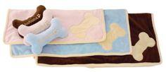 FouFou Dog Puppy Blanket set, Blue
