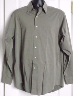 Brooks Brothers Stretch Long sleeve green Cotton blend shirt size:16  34/35 #BrooksBrothers
