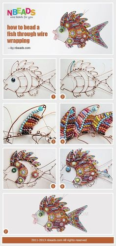 How to Bead A Fish Through Wire Wrapping by Amanda Wong | Project | Jewelry / Accessories | Kollabora #jewelrymaking #jewelrygram #jewelryinspo #cbloggers #beading #wirework