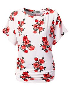 2fab9e81cba Bzonly Women Floral Print Tunic Tops Button Up Short Sleeve Summer T ...