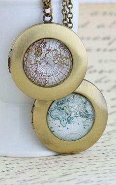 Map Locket Necklace