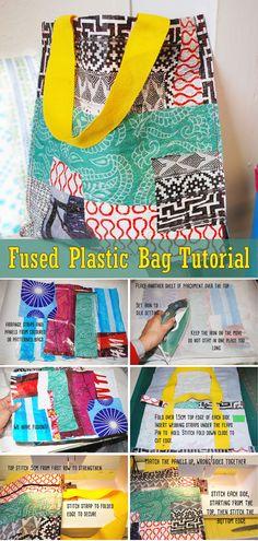 Reuse Plastic Bags, Plastic Bag Crafts, Fused Plastic, Plastic Bottles, Crochet With Plastic Bags, Recycling, Diy Recycle, Craft Tutorials, Sewing Tutorials