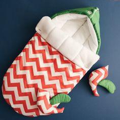 Items similar to Sleeping bag for newborn (winter), Swaddle Wrap for Babies, SLEEP SACK, baby cradle, Knit Cocoons, bird, green, zigzag orange on Etsy