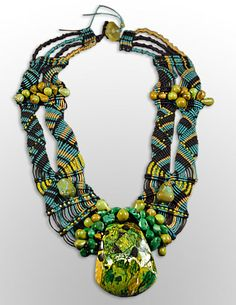 Sandy Swirnoff Parrot Necklace ~ turquoise, fiber, seed beads