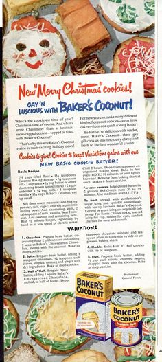 1950 Baker's Coconut Ad Christmas Cookies General Foods Recipes - 1950s Kitchen