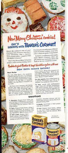 1950 Baker's Coconut Ad Christmas Cookies by SkippiDiddlePaper, $5.00