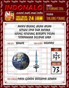 Prediksi Togel Online Indonalo Tanjung Pinang 12 Febuari 2016