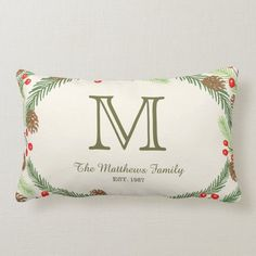Pine & Holly Monogram Holiday Pillow - tap to personalize and get yours #pine, #tree, #trees, #holiday, #christmas, Christmas Holidays, Christmas Decorations, Bed Pillows, Lumbar Pillow, Accent Pillows, Home Decor Wall Art, Artwork Design, Custom Pillows, Home Gifts
