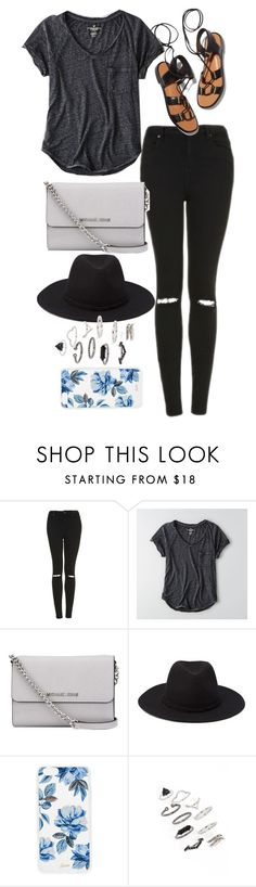 """Untitled #9636"" by katgorostiza ❤ liked on Polyvore featuring Topshop, American Eagle Outfitters, Rosetta Getty, MICHAEL Michael Kors, Forever 21 and Sonix"