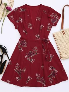 Floral Cap Sleeve Wrap Dress - RED L