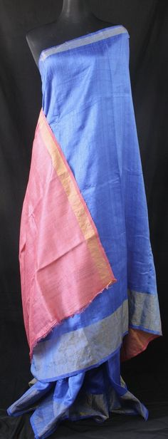 PURE RAW SILK DOUBLE SHADED SAREE  WITH ZARI BORDER