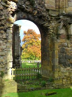 Archway in the ruins of Bolton Abbey, Yorkshire Dales, England