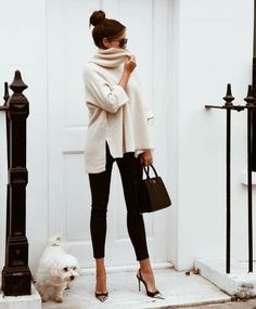 Black leggings and white sweater