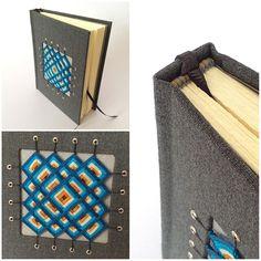 Square back bookbinding with hand sewn mandala cover by Lazaro Mendoza. |  Encuadernación de lomo cuadrado, costura de espera, cabezada bordada y mandala bordado en la tapa anterior   #bookbinding #encuadernacion #reliure #encadernação #ojodedios #mandalas #reliuredart #notebook #handmade #bookarts #encuadernación #cuaderno #artesanal