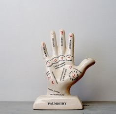 Vintage Porcelain Palmistry Hand Diagram - Fortune Telling Hand - Palm Readings - Large Ceramic Hand Statue by Suite22 on Etsy $45.00