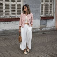 Women S Fashion Queen Street Denim Culottes Outfits, Denim Jacket Outfit Summer, Pink Culottes, Jean Jacket Outfits, Denim Outfit, Pink Corduroy Jacket, Pink Denim Jacket, Denim Jacket Fashion, Fall Fashion Outfits