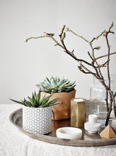 A gorgeous collection of greens, accented with a leather plant cozy, geometric candle holders and a mix of organic textures and industrial materials.
