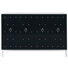 Harley Hollywood Regency Studded Black Lacquer Sideboard. #kathykuohome