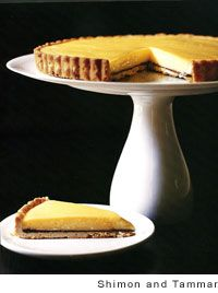 meyer lemon tart with a layer of chocolate