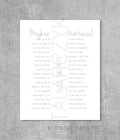 Wedding Vows Wall Print Contemporary by MorganMarieMakes on Etsy, $18.00
