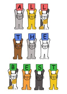 Retirement card , 'All the Best' cats.