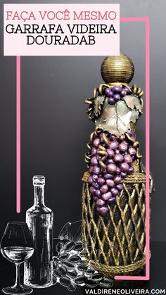 Diy Crafts Love, Diy Crafts For Home Decor, Diy Crafts For Gifts, Jar Crafts, Glass Bottle Crafts, Diy Bottle, Bottle Art, Garrafa Diy, Altered Bottles