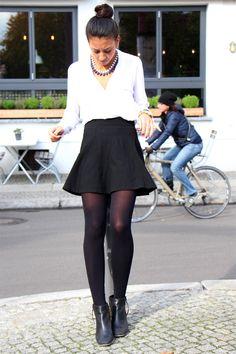 black skirt, white blouse