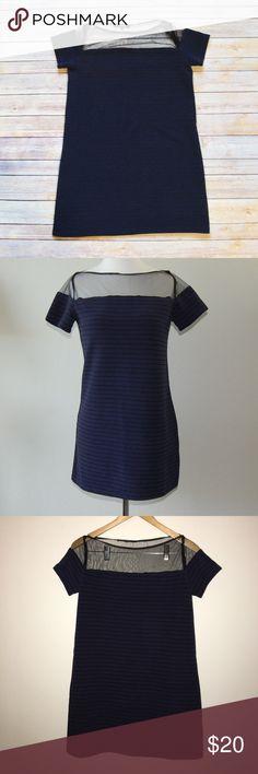 "OLIVACEOUS Shift Mini Dress Textured knit mini dress. Striped navy and black. Mesh neck and shoulders. Shoulder to hem is 29"". Polyester/rayon/spandex blend.    Instagram: @bringingupsuns Olivaceous Dresses Mini"