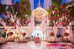 Pretty-in-Pink Wedding at the Bride's Family Home in Beverly Hills tent wedding reception watercolor dance floor chandelier roses hanging from trees gold chairs Tent Wedding, Home Wedding, Wedding Backdrops, Wedding Receptions, Tent Reception, Reception Decorations, Wedding Trends, Wedding Designs, The Bride