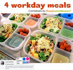 Pack ahead. Save time. 4 workday meals packed in EasyLunchboxes