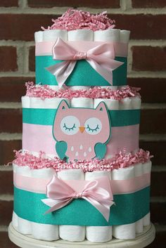 2 tier pink and teal owl diaper cake girls owl baby shower