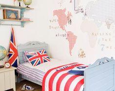 Fun Worldwide Map Wallpaper for Kids Room Bedroom Murals, Bedroom Themes, Kids Bedroom, Wall Murals, Kids Room Wallpaper, Of Wallpaper, Travel Wallpaper, British Themed Bedrooms, Union Jack Bedroom