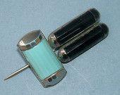 Vintage 1920s Art Deco Black and Blue Enamel Hat Pin