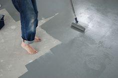 betonverven; goedkoop alternatief voor gietvloer! Leuk idee op zolder