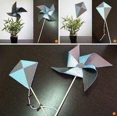 Enfeite de mesa no formato de pipa e catavento | Desk ornament in the shape of kite and windmill.
