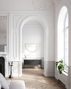 How to create a modern Parisian interior design - Interior Inspiration – Livettes Classic Interior, Home Interior Design, Interior Architecture, Interior Livingroom, Interior Plants, Minimalist Interior, Modern Interior, Plafond Design, Parisian Apartment