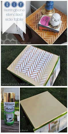 DIY Herringbone stenciled side table