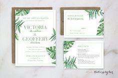 Printable Tropical Invitation, Destination Wedding Invite, Palm Leaf Wedding Invitation, Botanical Wedding Invitation
