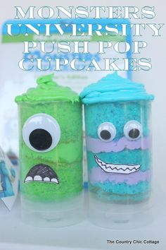 Make these great Monsters University push pop cupcakes for your family night. These would also be great for your Monsters themed party! Plus learn how to preorder the movie for delivery to your home in the fall. I have the push pops! Cake Push Pops, Cake Pops, Push Up Pops, Monster Inc Party, Monster University Party, Monster Inc Birthday, Hallowen Ideas, Monster Cupcakes, Country Chic Cottage